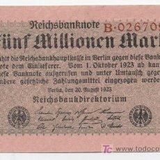 Billetes extranjeros: ALEMANIA, 5 MILLONES DE MARCOS 20-8-1923 PICK 105 SC. Lote 27368534