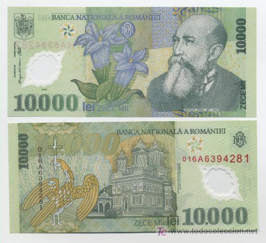 RUMANIA 10000 LEI 2000 PICK 112.A SC POLYMERO (Numismática - Notafilia - Billetes Extranjeros)