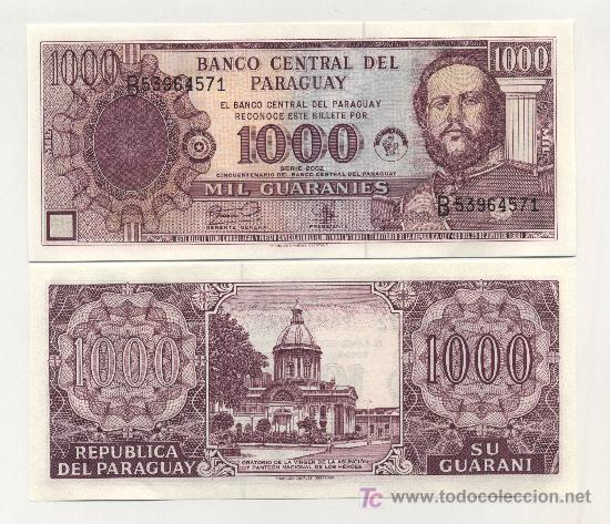 PARAGUAY 1000 GUARANIES 2002 PICK 221 SC (Numismática - Notafilia - Billetes Extranjeros)