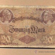 Billetes extranjeros: BILLETE 55 - ALEMANIA: 20 MARCOS BERLÍN, 5.08.1914 B.C. - ALEMANIA: 20 MARCOS BERLÍN, . Lote 24507773
