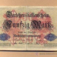 Billetes extranjeros: BBL54 - ALEMANIA: 50 MARCOS , BELÍN 5.08.1914 M.B.C. - . Lote 15107266