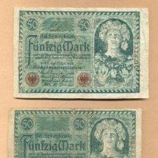 Billetes extranjeros: BBL52 -ALEMANIA: DOS BILLETES DE 50 MARCOS BERLÍN 23.07.1920 B.C.ALEMANIA: DOS BILLETES DE 50 MARCOS. Lote 23349200