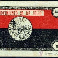 Billetes extranjeros: CUBA - RARISIMO BONO REVOLUCIONARIO DE 1000 PESOS--MOVIMIENTO 26 DE JULIO - EBC+. Lote 26330138