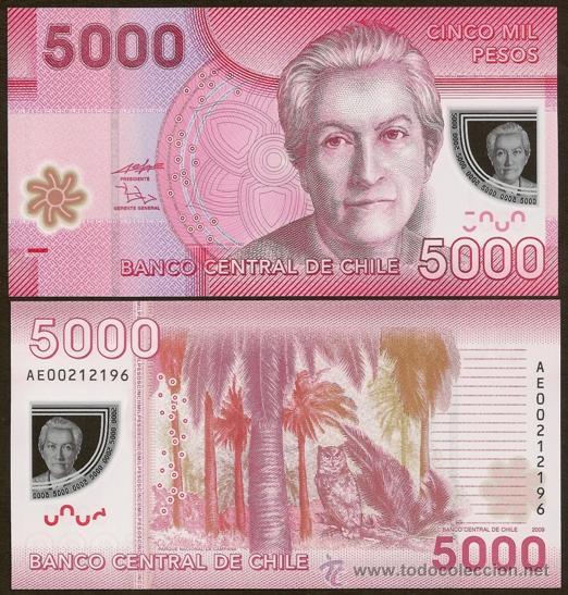 Chile nuevo billete de polimero de 5000 pesos comprar - Billetes muy baratos ...