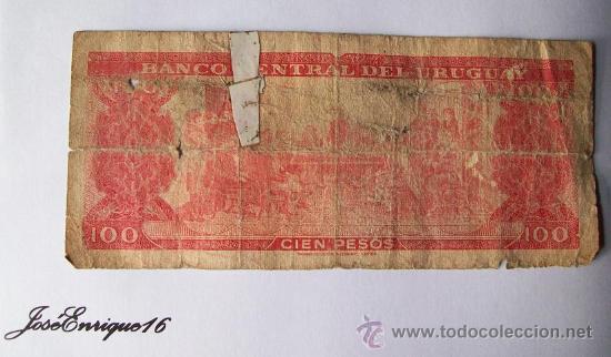 Billetes extranjeros: URUGUAY BILLETE 100 PESOS - Foto 2 - 15881558