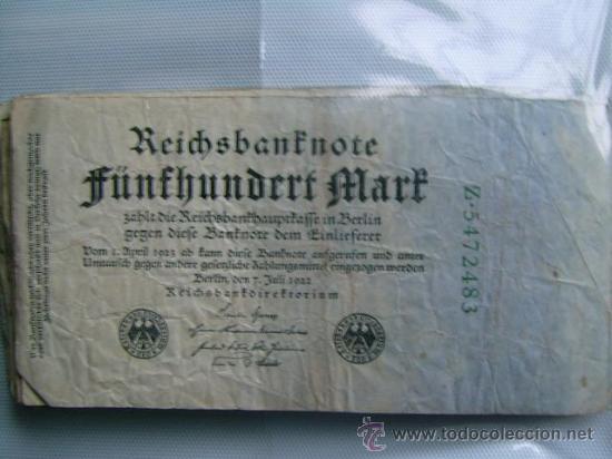 BILLETE ALEMANIA. 500 MARCOS. 7-7-1922. (Numismática - Notafilia - Billetes Internacionales)