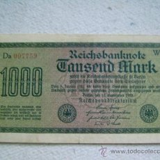 Billetes extranjeros: BILLETE ALEMANIA. 1000 MARCOS. 1922. MARCA E. . Lote 36231392