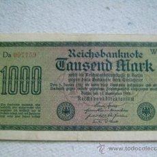 Billetes extranjeros: BILLETE ALEMANIA. 1000 MARCOS. 1922. MARCA D. . Lote 36231266