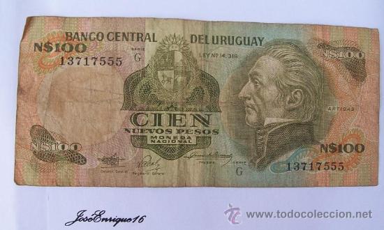 100 NUEVOS PESOS, BANCO CENTRAL DEL URUGUAY (Numismática - Notafilia - Billetes Extranjeros)
