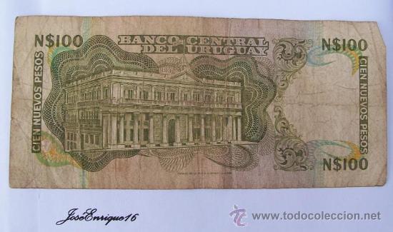 Billetes extranjeros: 100 NUEVOS PESOS, BANCO CENTRAL DEL URUGUAY - Foto 2 - 17267043