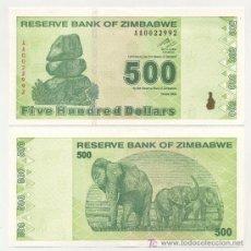 Billetes extranjeros: ZIMBABUE - ZIMBABWE 500 DOLARES 2009 PICK 98 SC. Lote 27286812