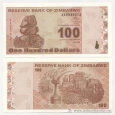 Billetes extranjeros: ZIMBABUE - ZIMBABWE 100 DOLARES 2009 PICK 97 SC. Lote 18936119