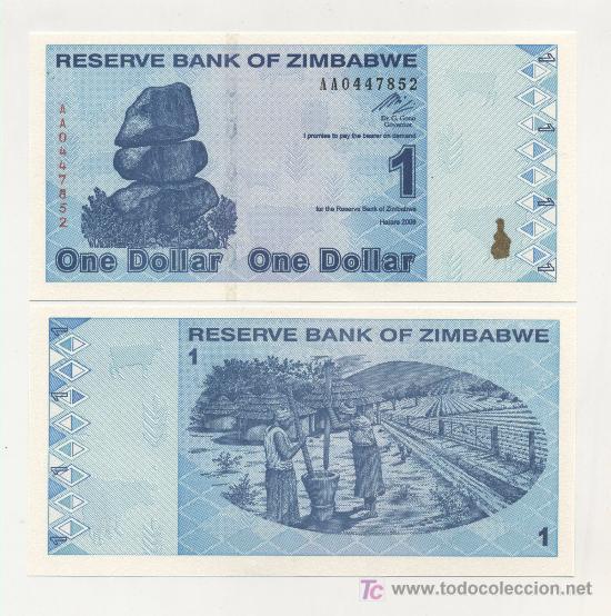 ZIMBABUE - ZIMBABWE 1 DOLAR 2009 PICK 92 SC (Numismática - Notafilia - Billetes Extranjeros)