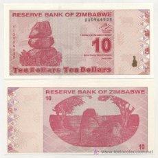 Billetes extranjeros: ZIMBABUE - ZIMBABWE 10 DOLARES 2009 PICK 94 SC. Lote 17998300