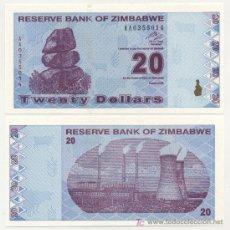 Billetes extranjeros: ZIMBABUE - ZIMBABWE 20 DOLARES 2009 PICK 95 SC. Lote 77225150