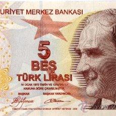 Billetes extranjeros: TURQUIA 5 LIRAS 2009 SIN CIRCULAR VER FOTOS. Lote 18106597