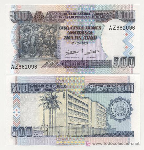 BURUNDI 500 FRANCS 1-5-2009 PICK NUEVO SC (Numismática - Notafilia - Billetes Extranjeros)