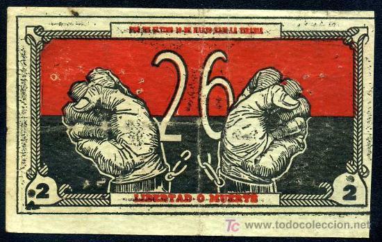 CUBA - BONO DE 2 PESOS - MOVIMIENTO 26 DE JULIO - 10 DE MARZO DE 1958 (Numismática - Notafilia - Billetes Extranjeros)