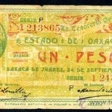 Billetes extranjeros: MEJICO (OAXACA) : 1 PESO 1915. Lote 26605305