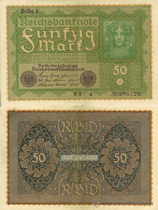 ALEMANIA - 50 MARCOS - 1919 (Numismática - Notafilia - Billetes Internacionales)