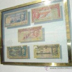 Billetes extranjeros: CUADRO DE CRISTALES CON 5 BILLETES. Lote 23522794