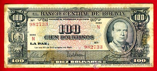 BILLETE BOLIVIA , 100 BOLIVIANOS 1945 , MBC- , T733 (Numismática - Notafilia - Billetes Extranjeros)