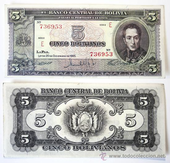 BILLETE BOLIVIA, 5 BOLIVIANOS, 1945, MBC. (Numismática - Notafilia - Billetes Extranjeros)