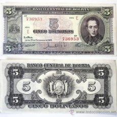 Billetes extranjeros: BILLETE BOLIVIA, 5 BOLIVIANOS, 1945, MBC.. Lote 27660883