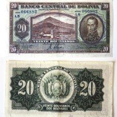 Billetes extranjeros: BILLETE BOLIVIA, 20 BOLIVIANOS, 1928, MBC.. Lote 27663975