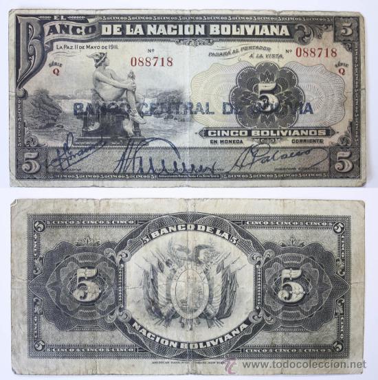 BILLETE BOLIVIA, 5 BOLIVIANOS, 1911, BC. (Numismática - Notafilia - Billetes Extranjeros)