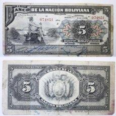 Billetes extranjeros: BILLETE BOLIVIA, 5 BOLIVIANOS, 1911, BC.. Lote 27664106