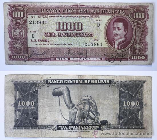 BILLETE BOLIVIA, 1000 BOLIVIANOS, 1945, BC. (Numismática - Notafilia - Billetes Extranjeros)