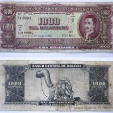 Billetes extranjeros: BILLETE BOLIVIA, 1000 BOLIVIANOS, 1945, BC.. Lote 27664125