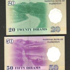 Billetes extranjeros: TAYIKISTAN - LOTE DE 2 BILLETES 1999 (VALORES 50 Y 20 DIRAMS) SC P.12 Y 13 UNC . Lote 28159362