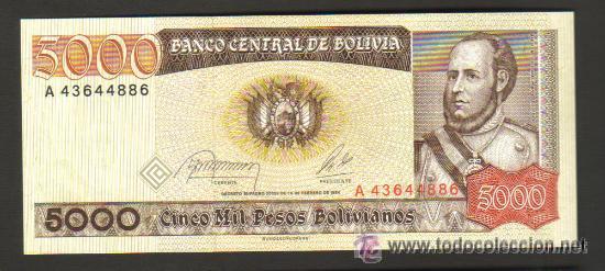P-168 Bolivia aUNC Pesos Bolivanos 1984 5,000 5000