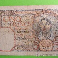 Billetes extranjeros: BANQUE DE L' ALGERIE 10-9-1928 C ARGELIA , 5 CINQ FRANCS. Lote 29673594