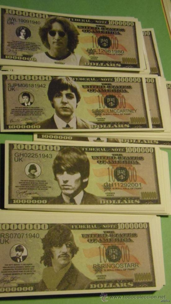 4-Beatles Dollar Bills John Lennon-Paul McCartney-GEORGE HARRISON-RINGO STARR