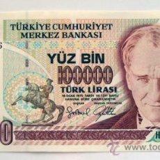 Billetes extranjeros: BILLETES DEL MUNDO . TURQUIA. 100000 BIN LIRASI. 1970 . PLANCHA. Lote 29861573