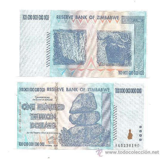 ZIMBABWE 100 TRILLONES DOLARES 2008 PICK-91 UNC (SIN CIRCULAR) (Numismática - Notafilia - Billetes Extranjeros)