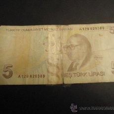 Billetes extranjeros: TURQUÍA 5 LIRAS 2009. Lote 30252175