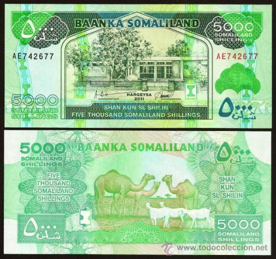 SOMALILANDIA (SOMALILAND, SOMALIA). 5000 SHILLINGS 2011. S/C. PICK 21 A. (Numismática - Notafilia - Billetes Internacionales)