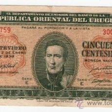 Billetes extranjeros: URUGUAY - BILLETE CINCUENTA 0.50 CENTESIMOS AÑO 1939. Lote 31018105