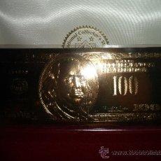 Billetes extranjeros: BILLETE DE $100 DOLARES 24 KILATES, HOJA DE CARTULINA BAÑADA DE ORO PURO. CERTIFICADA. Lote 37329836