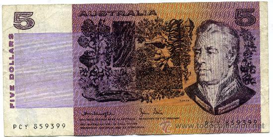 BILLETE AUSTRALIA 5 DÓLARES DOLLARS (Numismática - Notafilia - Billetes Extranjeros)