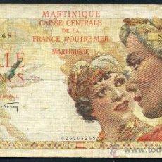 Billetes extranjeros: MARTINICA : 1000 FRANCOS 1947/49 APROX. MBC PICK 33. Lote 33088317