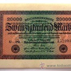 Billetes extranjeros: BILLETES DEL MUNDO . ALEMANIA . 20000 REICHSBANKNOTE 1923 . PLANCHA. Lote 34209751