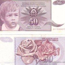 Billetes extranjeros: YUGOSLAVIA 50 DINARA DINARES MBC 1990. Lote 207323032