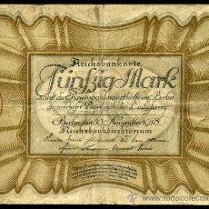 Billetes extranjeros: ALEMANIA : 50 MARCOS 1918 PICK 65 APROX. MBC. Lote 35205222