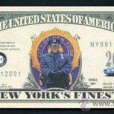 Billetes extranjeros: BILLETE DOLAR 2001 CONMEMORATIVO ( 11 DE SEPTIEMBRE 11S - POLICIAS NEW YORK ) Nº6. Lote 100572287