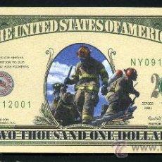Billetes extranjeros: BILLETE DOLAR CONMEMORATIVO ( RECUERDO DEL 11S - 2001 - BOMBEROS DE NEW YORK ) Nº4. Lote 66972822